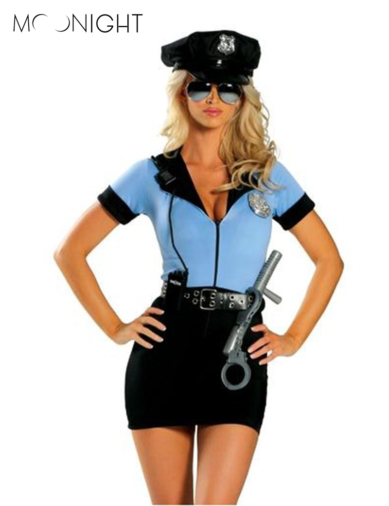 MOONIGHT New Police Fancy Halloween Costume Sexy Cop Outfit Woman Cosplay Sexy Erotic Lingerie Police for Women 3 piece chic buttoned skinny women s police cosplay costume