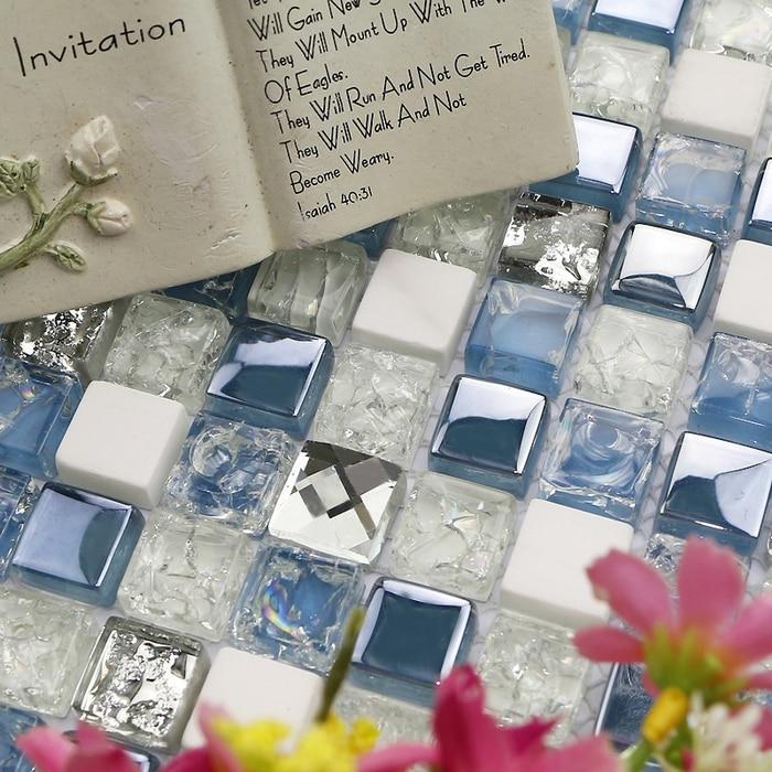 Mediterranean blue glass mixed white stone tiles mosaic for bathroom shower tiles , fireplace mosaic tiles