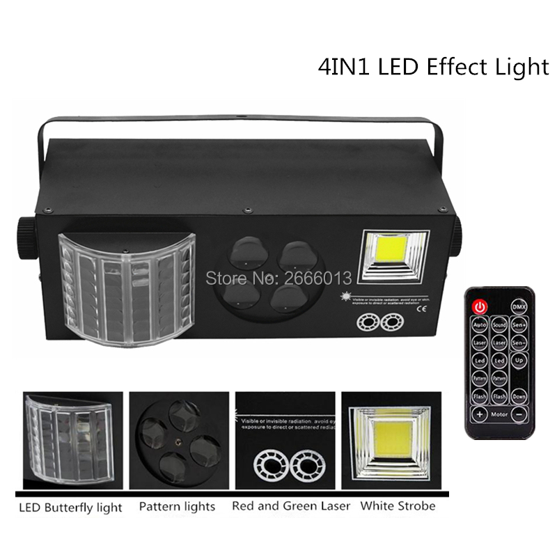 Niugul With Wireless Control DMX LED 4in1 Effect Stage Lights, White Strobe+LED Butterfly Light+RG Laser+4 Eyes Patterns Light new mini 4in1 patterns sunflower whirlwind r