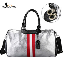 Silver PU Leather Gym Bag Fitness Women Traveling Tote Handbag Men Shoulder Crossbody Bags Luggage for Shoes Duffle Blaso XA128D