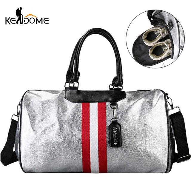 Silver PU Leather Gym Bag Fitness Women Traveling Tote Handbag Men Shoulder Crossbody Bags Luggage for Shoes Duffle Blaso XA128D
