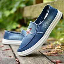 2019 Fashion Denim Canvas Shoes Mens Casual Shoes Man Slip-on  Loafers Chaussures Homme Summer Breathable Sneakers Men Flats недорого