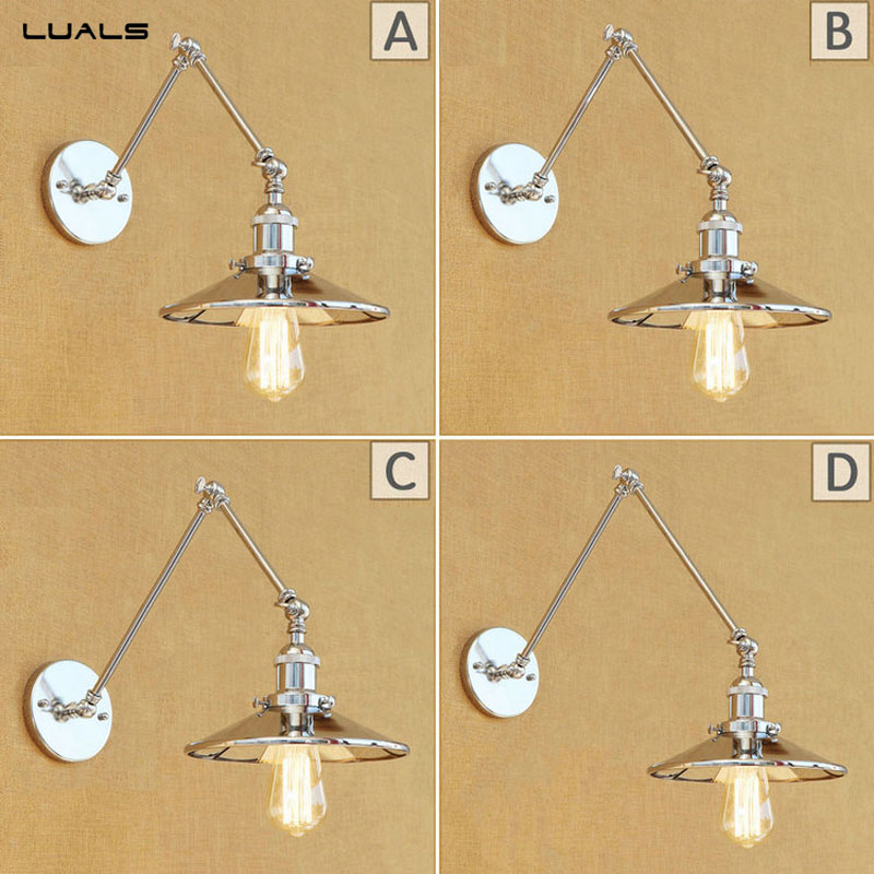 Loft Retro Wall Lamp Originality Silver plating Industrial Wall Light For Restaurant Metal Edison wall Mounted Swing Arm Lights
