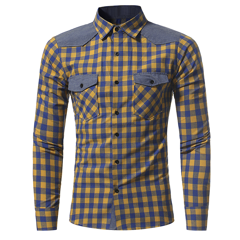 New Fashion Classic Plaid Shirts 2 Pockets Design Men Casual Shirts Long Sleeve Turn down Collar Shirt Male Chemise Homme in Casual Shirts from Men 39 s Clothing