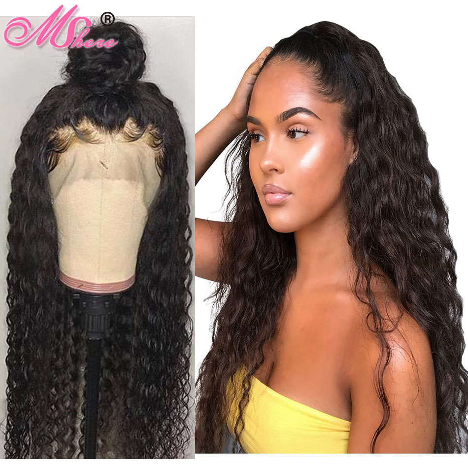 Mshere Wigs Glueless Human-Hair Lace-Frontal Water-Wave Pre-Plucked 13x4 with Peruvian