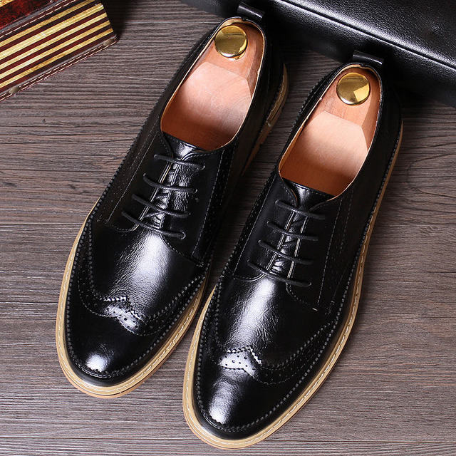 New 4 Colors US Size 6-10 Leather Like Lace Up Carved Brogue Shoes Men's Wing Tip Casual Oxford Bussiness Shoes