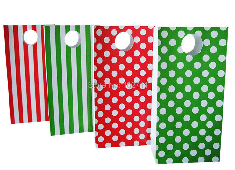 Christmas Green Red Gift Treat Bags Party Paper Candy Favor With Polka Dot Stripes Chevron Pattern In Wring Supplies From Home