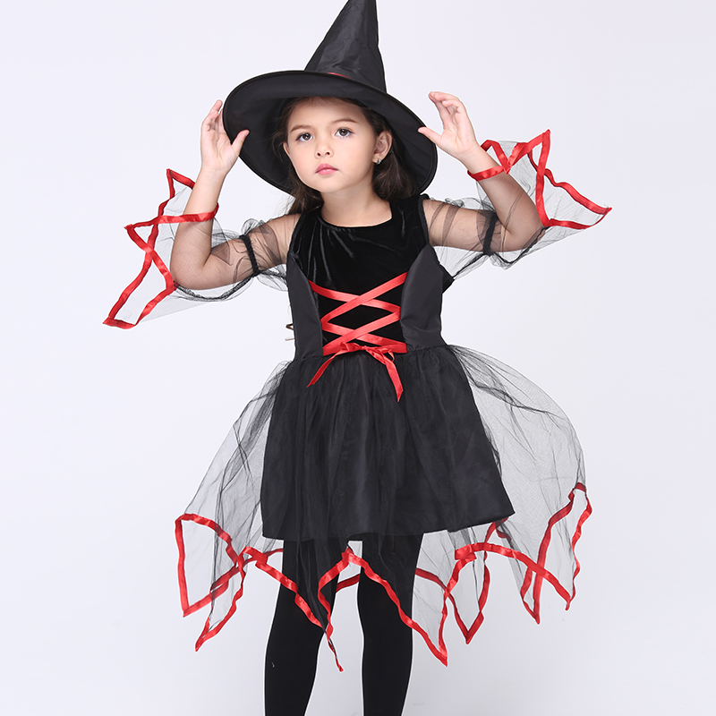 Halloween Cosplay Party Witch Performance Costume Fancy Dress Carnival Witch Costume for Kids Girl England Style Dress with Hat 4pcs gothic halloween artificial devil vampire teeth cosplay prop for fancy ball party show