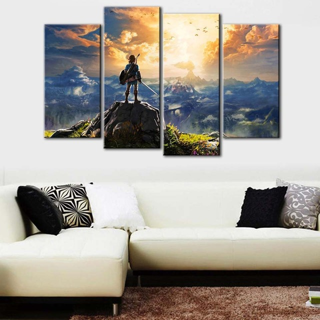 Canvas Pictures Wall Art HD Prints Home Decor 4 Pieces The Legend of Zelda Poster Abstract Game Paintings Living Room Framework 1