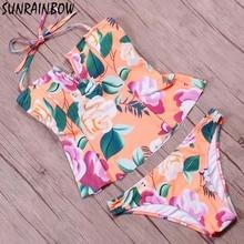 SUNRAINBOW 2017 New Printed Floral Swimsuit Women Swimwear Two Pieces Bikini Summer Halter Top Vintage Tankini Bathing Suit Swim