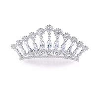 New Small Clear Zircon Girl Tiara Combs Design CZ Bride Crown Flowers Wedding Hair Jewelry