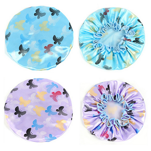 Double Layer Waterproof Shower Hair Cap Bathing Cap Bathroom Products Butterfly Women Shower Cap High Quality