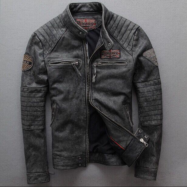 Vintage Gray Goatskin genuine leather motorcycle jacket