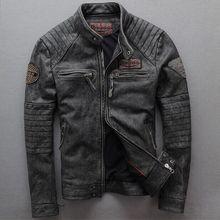 2019 New men Vintage gray Men slim Goatskin genuine leather motorcycle jacket Pu