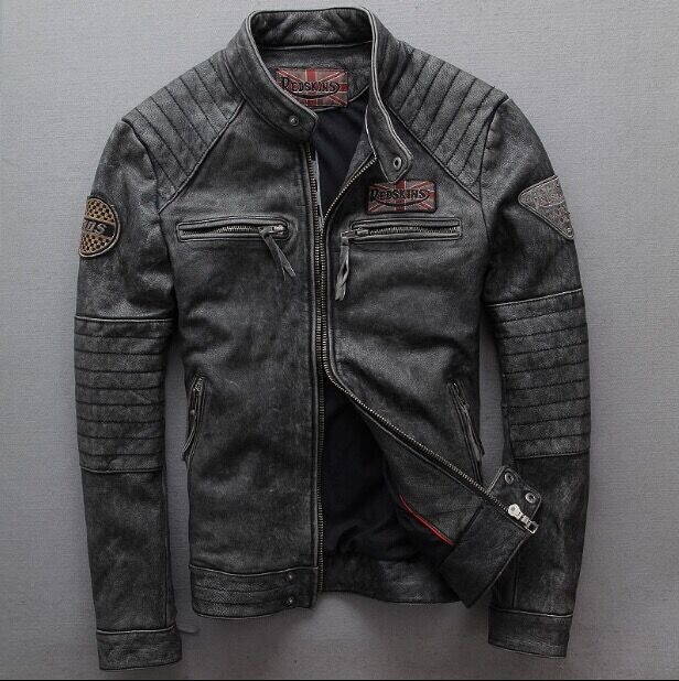 2019 New Men Vintage Gray Men Slim Goatskin Genuine Leather Motorcycle Jacket Punk Brand Fashion Quality Pilot Bomber Jacket