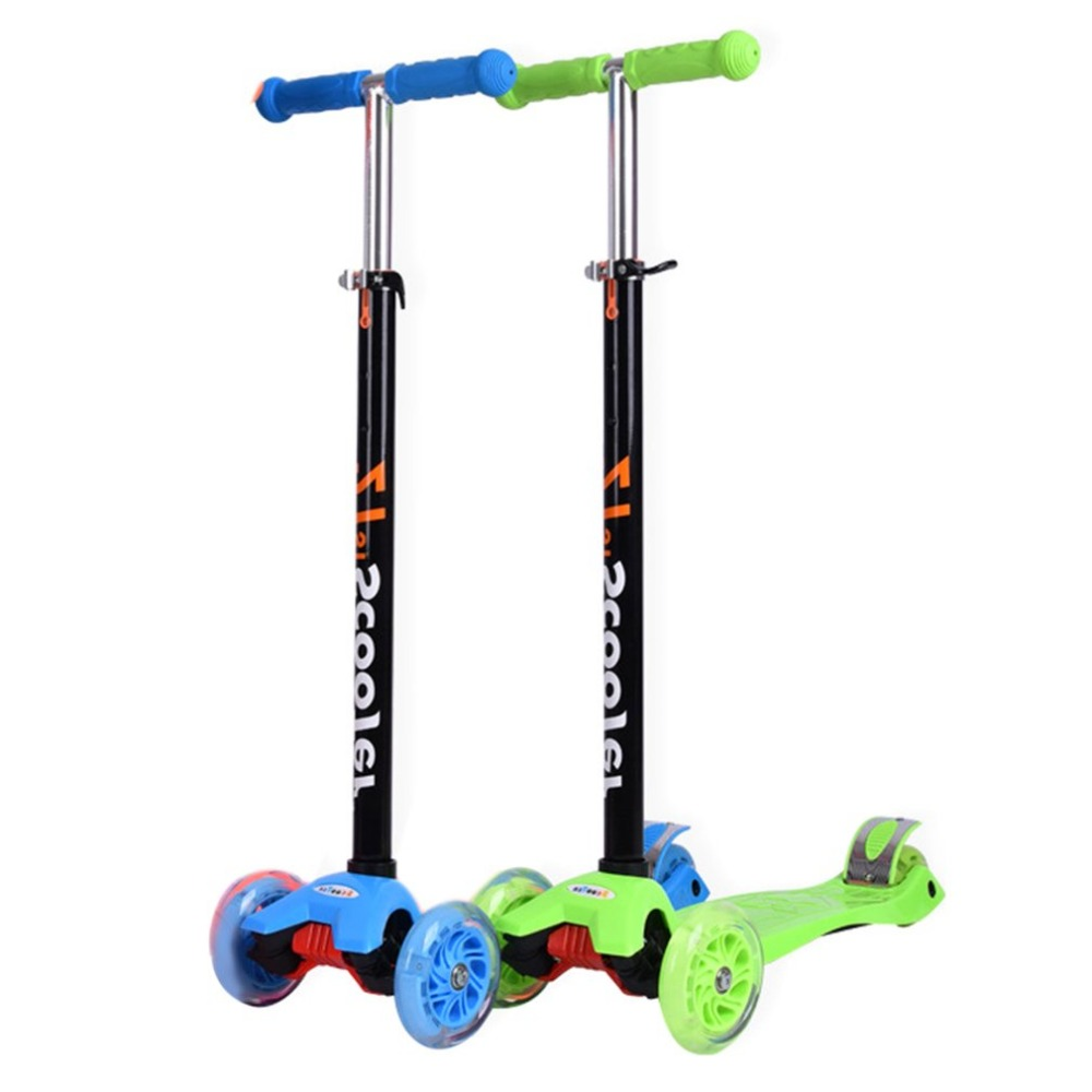 Portable Adjusting Lifting Lock Dual Rear Wheels Foldable Scooter For Children With Flashing Wheels Ergonomic Handle Scooters children 3 flashing wheels scooter lightweight outdoor play kids foot twister swing car tricycle ride scooter best gift