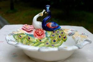 Ceramiczne miłośników pawia owoce przechowywanie cukierków miska przekąska deserowa talerz sałatkowy home decor dekoracja ślubna figurka rękodzieła
