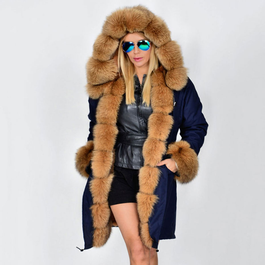 Fur Parkas For Women Winter 2017 Luxurious Real Fox Fur Collar Hooded Long Coat Thick Warm Detachable Lining Lady Parka 2017 winter new clothes to overcome the coat of women in the long reed rabbit hair fur fur coat fox raccoon fur collar