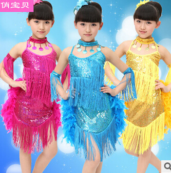Hot selling Stage performance rosy yellow blue rumba latin dance dress tango samba 120-160cm professional girl child costume