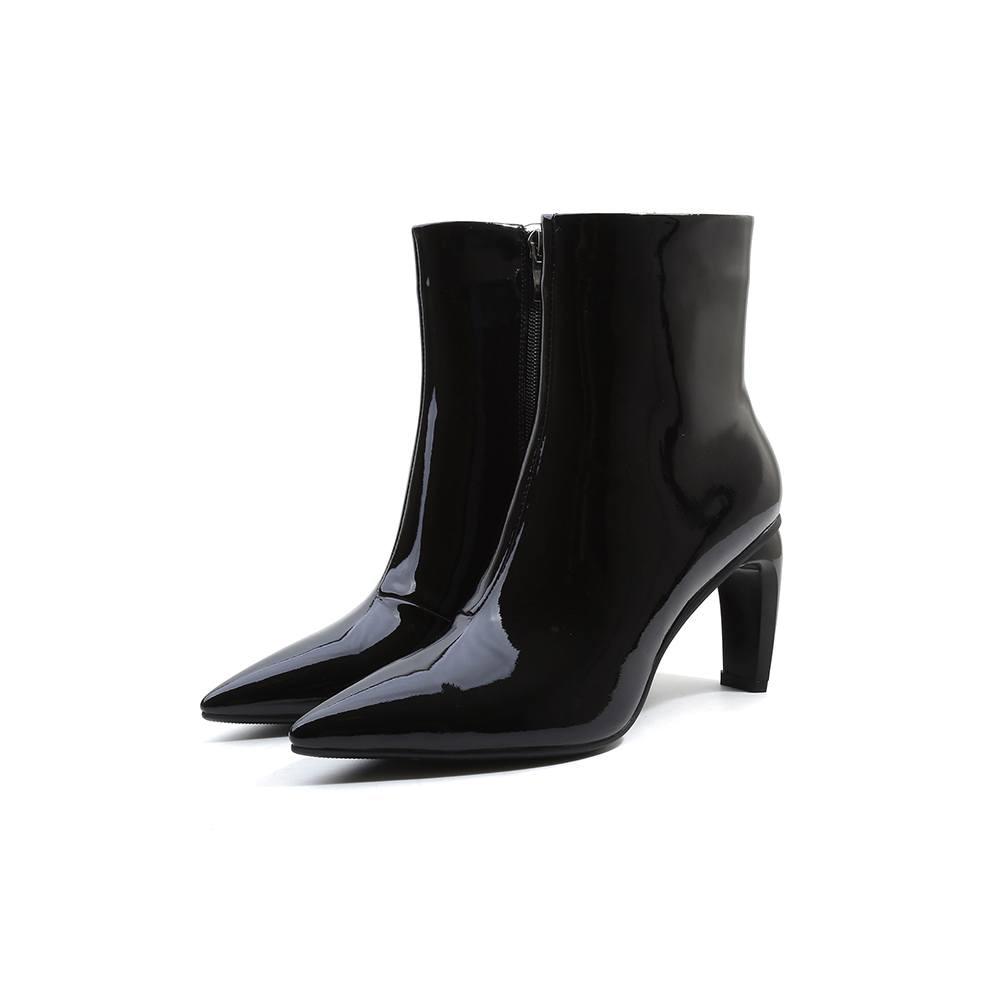 L01 Talons En Pleine Lenkisen Taille Noir Confortable rouge Zipper Chaussures Film Pointu Cheville Haute Grande Étoiles Femme Étrange Solide Cuir Fleur Bottes Bout nRROIrq