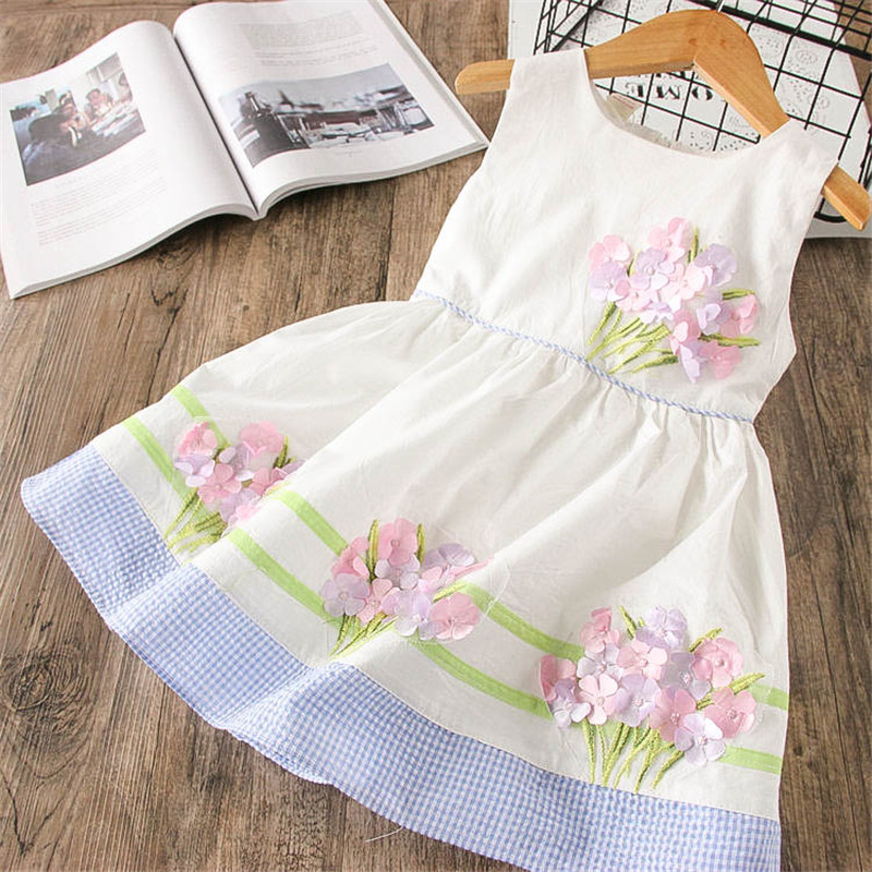 Hurave pattern pageant solid cotton princess Baby Girls Dress Clothes Sleeveless Kids Crew Neck Appliques drawstring Dresses