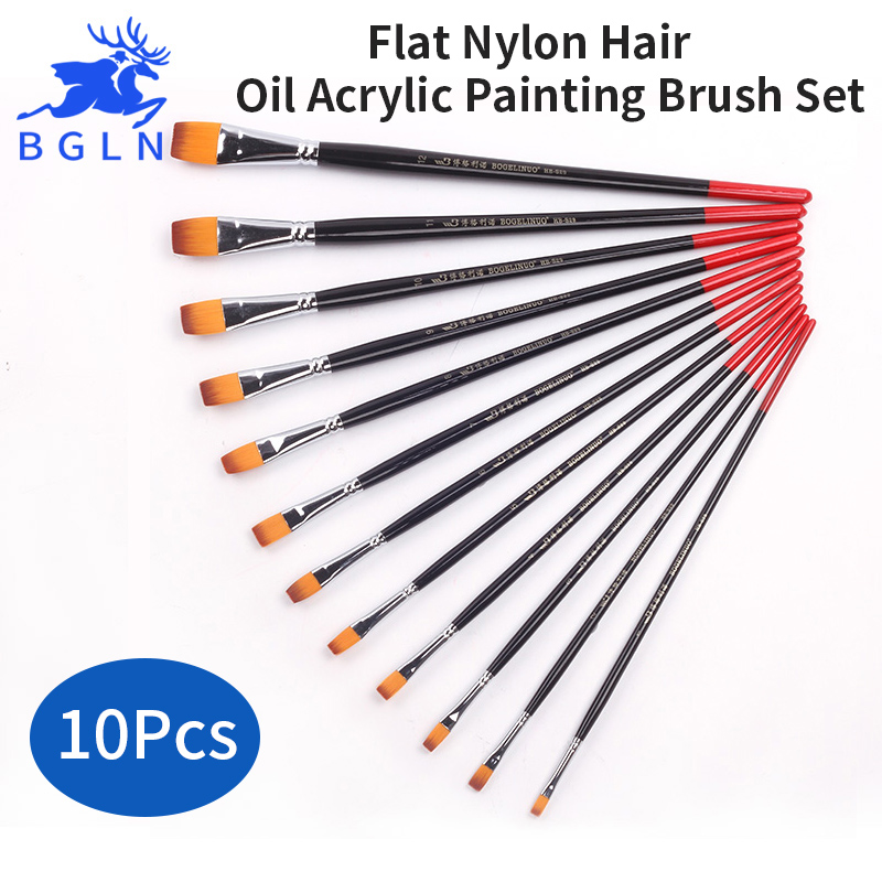 Bgln 10pcs/set Mixed Size Flat Nylon Hair Oil Acrylic Painting Brush Set Long Handle Art Brush Art Supplies HB-S29 bgln 12pcs set bristle hair flat oil painting brush mix size solid wood pole artist oil acrylic paint brush art supplies