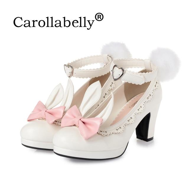 Dulce princesa zapatos de fiesta de cuero sólido mujeres bombas Cosplay conejo tacones gruesos hebilla correas punta redonda plataforma Lolita zapatos
