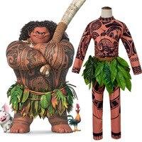 Moana Maui Tattoo T Shirt / Unisex Adult and Child Pants Halloween Moana Maui Cosplay Costume with Leaf Decoration Blattern
