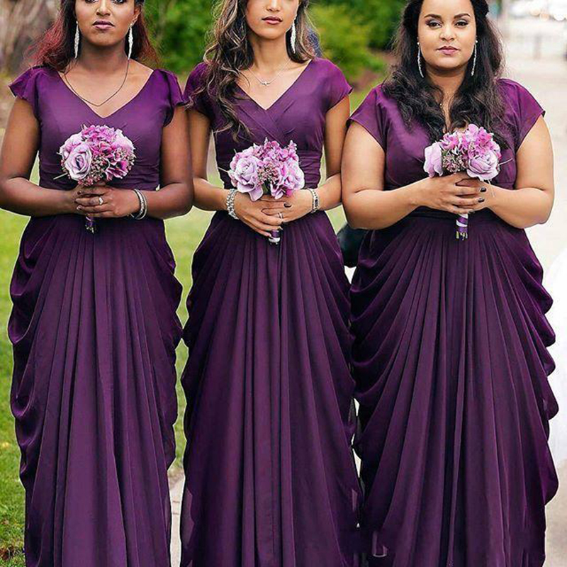 Plus Size Dark Purple Bridesmaid Dresses Cap Sleeves V Neck Ruffles Evening Vestidos 2019 Wedding Party Gowns Custom Made