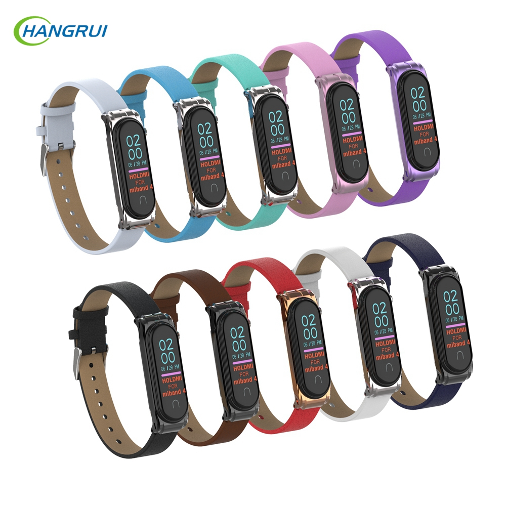 For Mi Band 3 4 Strap PU Leather Wrist Strap For Xiaomi Band 4 Smart Braceler Replacement Wristband Sport Breathable Watchband