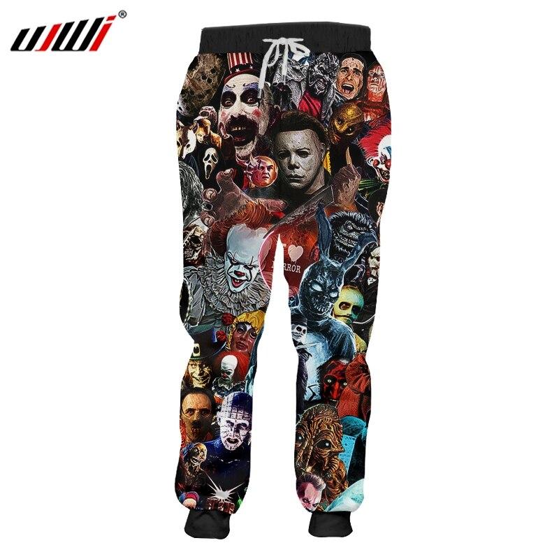 UJWI Man Skull Horror Mask Film Clown Devil Sweatshirt Men's 3D Harajuku Oversized Pants Printed Cartoon Fitness Trousers