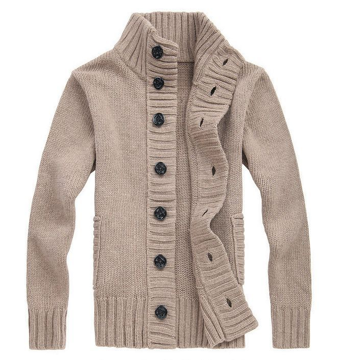 Men's Wool Sweater Thick Knit Cardigan Button Front Turtle Neck ...