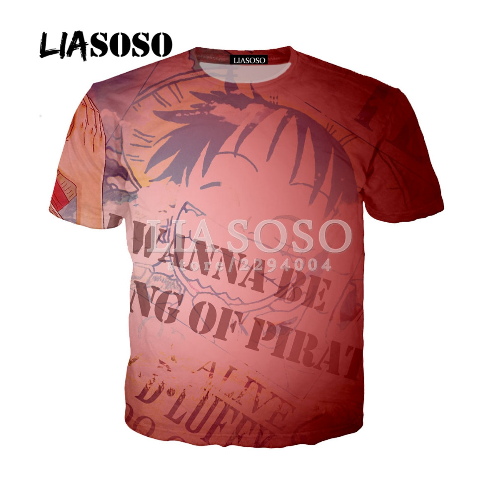 LIASOSO Hot Selling Anime 3D Print Men T Shirt One Piece/Naruto/BLEACH/Fullmetal Alchemist Character Casual Tshirt Homme Y101