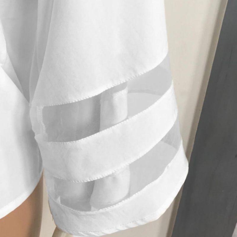 HTB1ERrkKh9YBuNjy0Ffq6xIsVXaP - Summer streetwear style women cute chiffon blouses casual flare sleeve shirts white loose tops patchwork mesh shirts