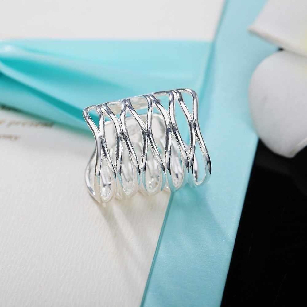 2019New แฟชั่น Silver สุทธิสานเปิดแหวนปรับสำหรับผู้หญิงกว้าง Knuckle Finger แหวนขายส่งเครื่องประดับหญิง