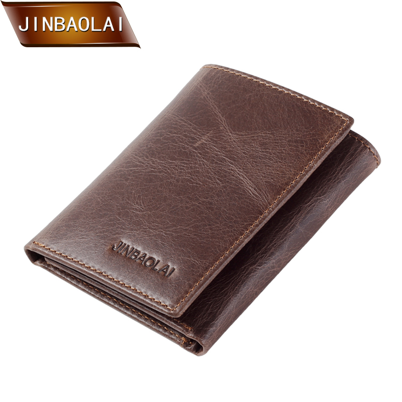 JINBAOLAI Men's Wallet Vintage Genuine Leather Trifold Wallets and Purses Short Design Credit Card Holder Coin Purse Carteira