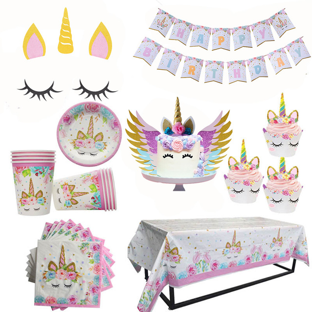 Unicorn Birthday Party Supplies DIY Cake Topper Cupcake Kids 1st