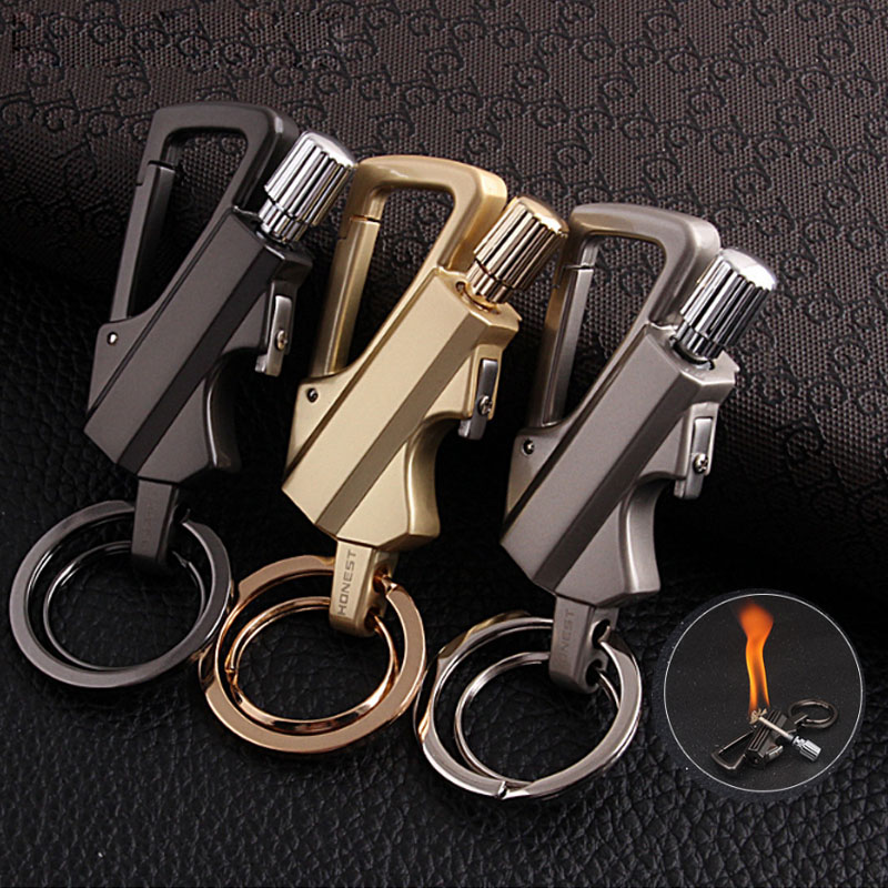2017 Creative Stainless Steel Torch Lighter Men Kerosene Oil Lighter Flame Key chain Lighter Million Matches Key Decort
