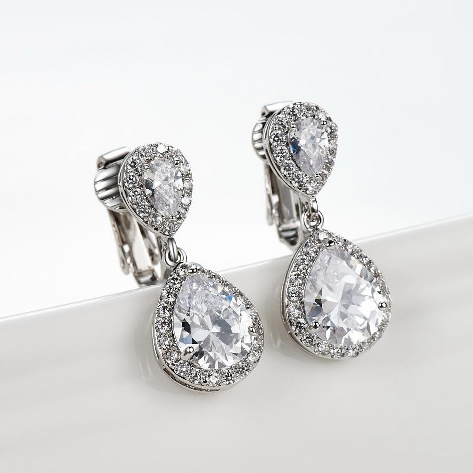 Aliexpress Buy Clip On Drop Earrings For Women Rhodium Plated  Double Waterdrop Cz Diamond Brincos
