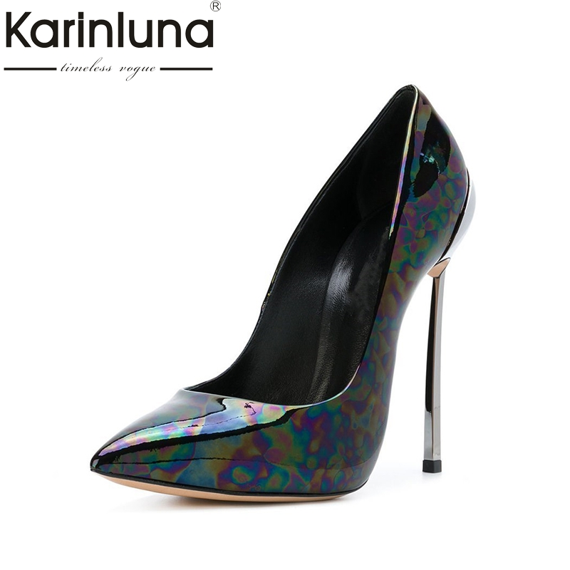 Karinluna Big Size 33-45 Thin High Heels Party Brand Design Spring Shoes Pumps Sexy Pointed Toe Print Women Shoes Woman karinluna 2018 size 33 40 brand shoes women peep toe party women shoes sexy pumps platform high heels wedding shoes woman