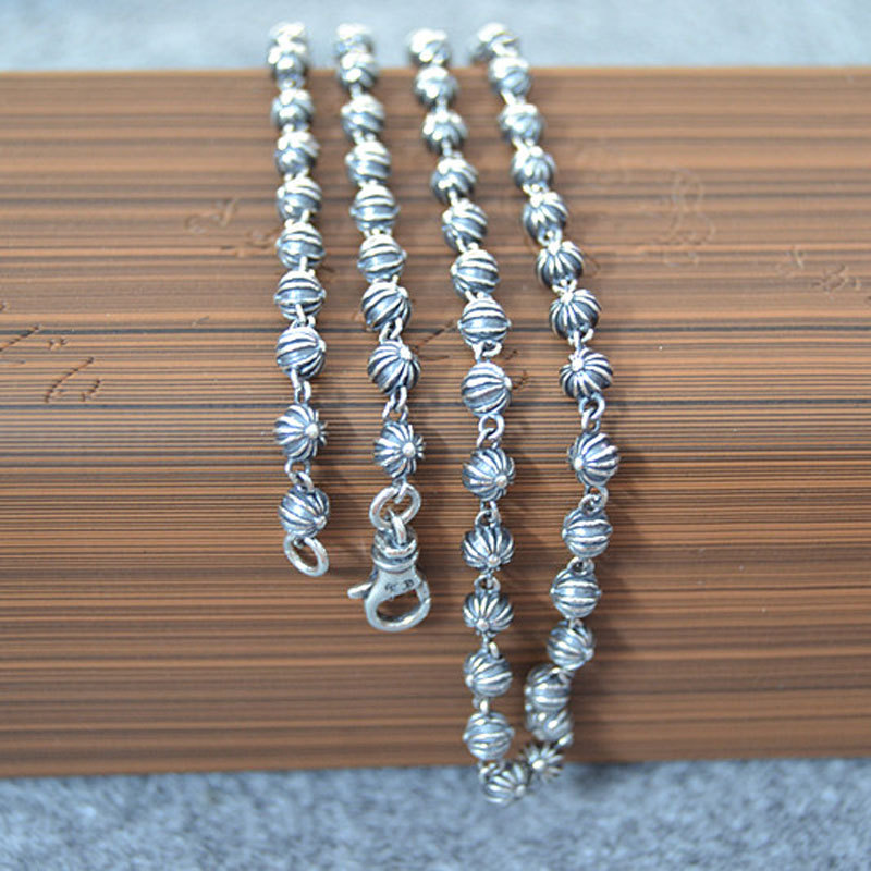 CH Retro Thai Silver Cross Beads Chain Men And Women Long Sweater Chain Coarse Punk Style S925 Sterling Silver Charm Necklace punk style silver plated etched star circle pendnat necklace for men