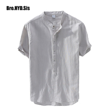 Casual Pullover Cotton Linen Shirts Men Short Sleeve Summer White Flax Thin British Fashion Solid Man Clothes Loose Fit