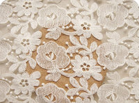ivory lace fabric, tulle embroidered lace fabric with retro floral, 10 yards