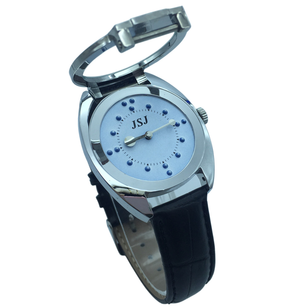 Braille Tactile Wrist Watch With Blue Face,Leather Strap