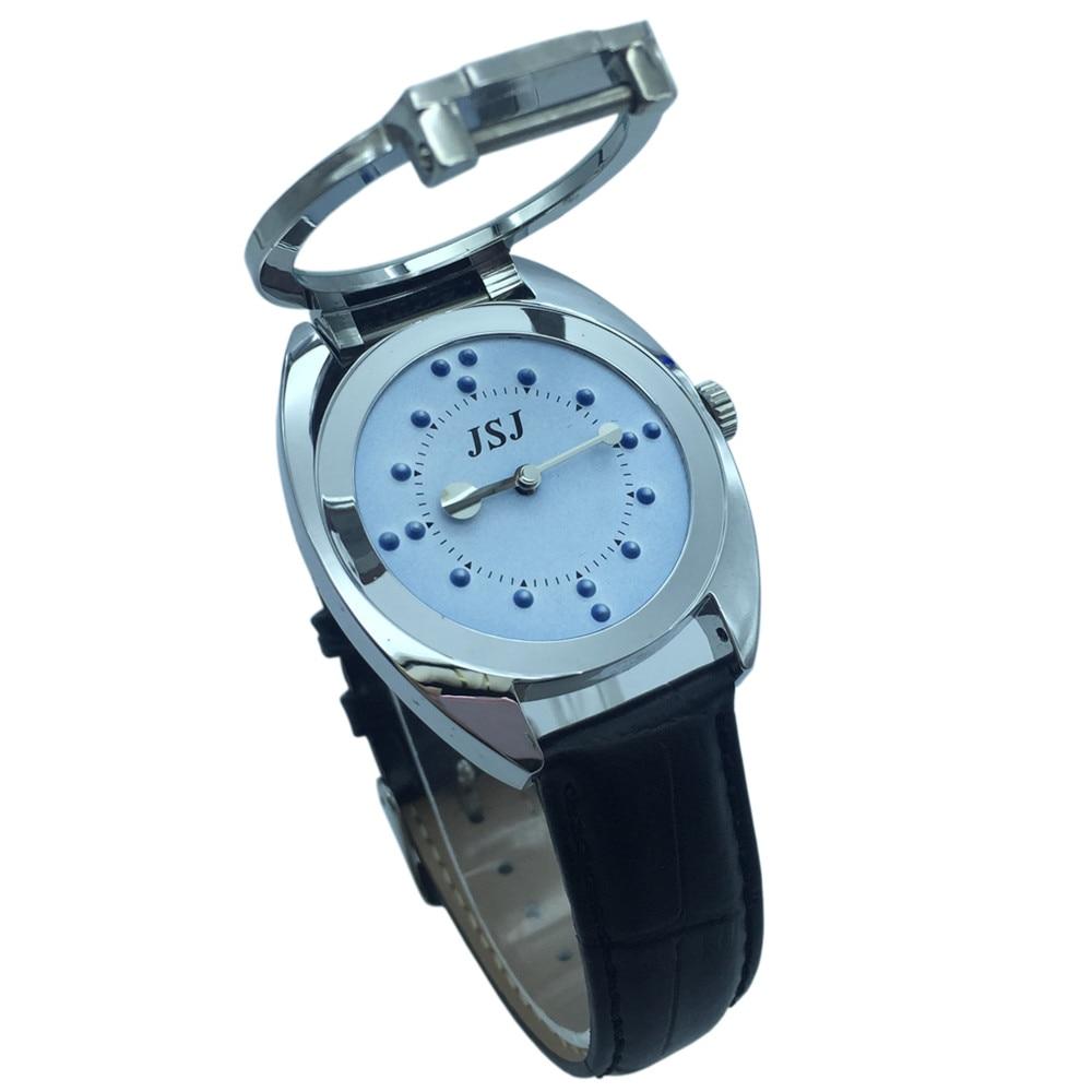 koupit braillovské hodinky - Braille Tactile Wrist Watch with Blue Face,Leather Strap