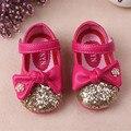 WENDYWU принцесса девушки кожаные ботинки лук обувь девушки Блестки обувь для детей на день рождения Металлические цветы роза белый розовый размер 21-25