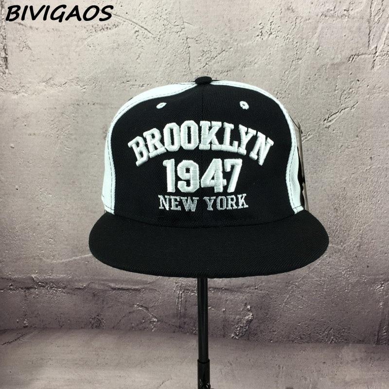Новая мода мужские бейсболки бейсбольные шапки черно-белые 1947 бруклинские буквы вышивка хип-хоп кепки солнцезащитные шапки кости для мужчин и женщин