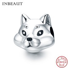 INBEAUT Lovely Wolf Dog Charm Bracelet Real 925 Sterling SIlver Savage Prairie Animal Pendant Beads for Necklace Teen Girl Gift