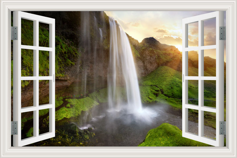 Waterfall 3D Window View Wallpaper Nature Landscape Wall Decals for Living Room