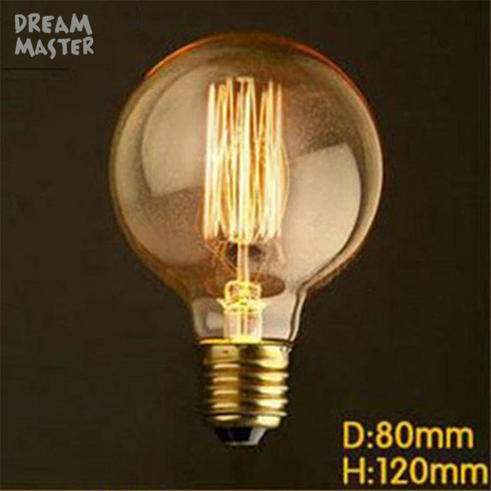 220V G80 Incandescent Light Bulb Vintage Edison Bulb Retro Lamp 40W DIY lampada edison bulbs For E27 Pendant Lamp